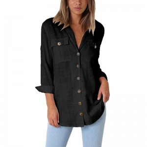 Loose Fitting Retro Vintage Cocktail Women Autumn Casual Tops T Shirt Loose Button Long Shirt Cotton for Ladies