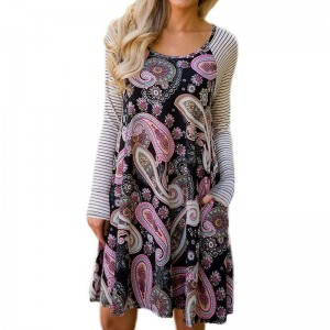 Loose Waist Vintage Printed Florals O Neck Long Sleeve Pink Purple Dress Women New Design Casual Vestidos Streetwear