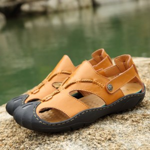 Luxury Brand Men Sandals Genuine Leather Cowhide Handmade Summer Shoes Outdoor Casual Beach Anti Shock Footwear