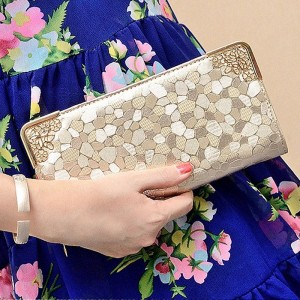 Luxury Fashion Gold Silver Hand Wallet Purse Pu Leather Top Quality Women Thumbnail