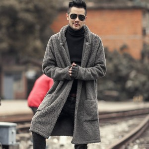 Man new design winter long furry coat warm plush cardigan men slim fashion European style black cotton cardigan