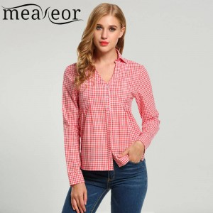 Meaneor Lady Blouse Shirts New Fashion Casual Long Sleeve Spring Office Clothing Women Thumbnail