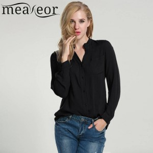 Meaneor New Women Chiffon Blouse Autumn Spring Casual Long Sleeve Ladies Shirt For Women Thumbnail