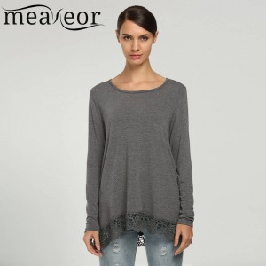 Meaneor Women Tees Tops Shirts Casual Loose Long Sleeve Lace Patchwork Tops Women Thumbnail