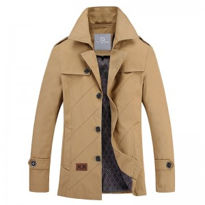 Men Autumn Overcoat Regular Length Turn down Collar Wide waisted High Quality Blends Casual Style Outwear