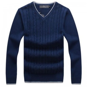 Men Fashion Sweater V Neck Thick Whole Cotton Windproof Twisted Pattern Warm Winter Pullovers Plus Size Male Outwear