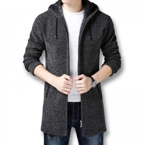 Men Hooded Zip Sweater Jackets Coats Knitwear Male Casual Fashion Slim Fit Winter Thick Fleece Knitted Sweaters