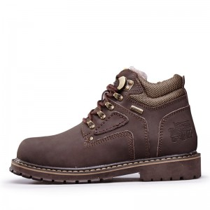 Men Shoes Autumn Winter Warm Fur Tooling Shoes Size 38 44 Fashion Casual Cow Leather Boots Lace Up Ankle Boots