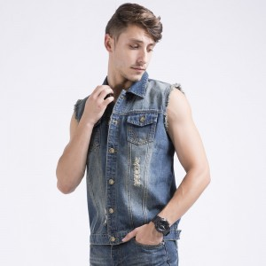 Mens Denim Vest Jackets Classic Cowboy Style Slim Regular Type Cotton Wash Distressed Hiphop Male Big Size Denims