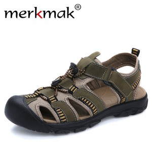 Merkmak Summer Men Sandals Genuine Leather Breathable Shoes Men Outdoor Walking Casual Beach Sandal Shoes