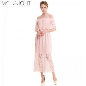 Moonlight Slash Neck Women Dress Summer Style Beach Dress Sexy Pink Black Beach Dress New Arrival Women Thumbnail