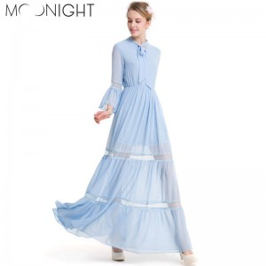 Moonlight Summer Splice Long Dress Top Quality Clothing New Arrival Summer Empire Dress Cool Finish Women Thumbnail