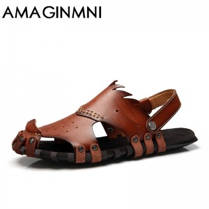 New 2018 Collection Of Slipper Genuine Leather Sandals Latest Casual Mens Summer Shoes Beach Flip Flops