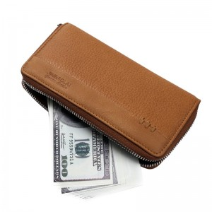 New Arrival Genuine Leather Mens Long Zipper Wallet Cowhide Casual Clutch Male Purse Card Holder Money Bag