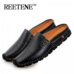 New Arrival Genuine Leather Sandals Loafers Breathable Summer Slippers For Men Thumbnail