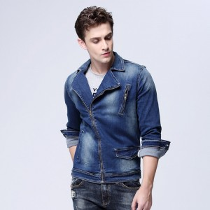 New Arrival Mens Locomotive Jeans Jacket Zipper Placket Denim Trucker Jacket Fashion Plus Size Denim Coats For Men