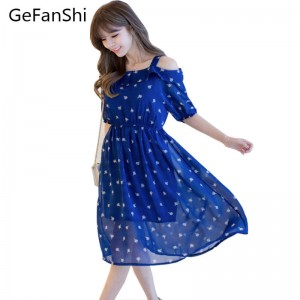 New Arrival Summer Chiffon Half Sleeve Casual Dress Slim Elastic Waist Dress Women Thumbnail