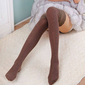 New Arrivals Women Lace Over Knee Thigh Stocking High Cotton Stretchy Elastic Ladies Thumbnail