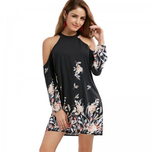 New Autumn Floral Border Shift Dress Cold Shoulder Long Sleeve Shift Mini Dress For Ladies At Cheap Prices