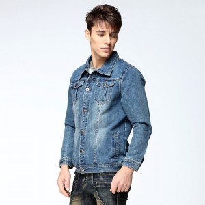 New Autumn Mens Denim Jacket Coat Single Breasted Loose Fit Light Blue Big Men Plus Size Male Jeans Outwear Jackets
