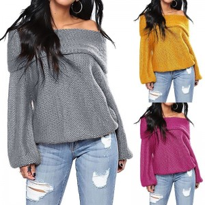 New Autumn Winter Knitted Sweater Women Causal Off Shoulder Long Sleeve Pullover Tops Women Sweater Pullovers