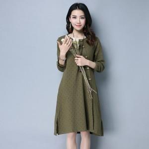 New Autumn Winter Spring Loose Fit Retro Vintage Linen Dress Long Knee Length Female Cardigan For Ladies