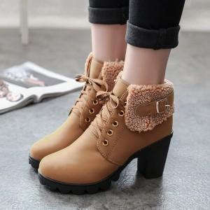 New Autumn Winter Women Boots High Quality Solid Lace Up Ankle shoes PU Leather Fashion High Heel Martin Boots Hot Sale