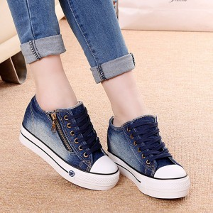 New Canvas Shoes Fashion Leisure Women Shoes Female Casual Shoes Cocktail Jeans Blue Female Footwear
