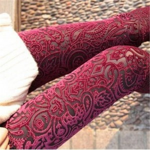 New Casual Women Leggings Pants Sexy Vintage Skinny Floral Design Velvet Elastic Thumbnail