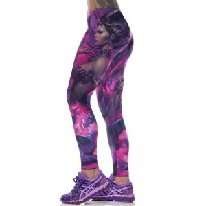 New compression pants women high Waist purple magical 3D print Skinny Leggings Slim fitness wicking polyester jeggings