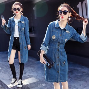 New Elegant Long Denim Jacket Coat Female Spring Autumn Ripped Pockets Jeans Jacket Fashion Long Sleeve Clothes