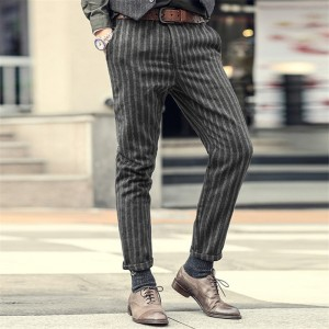 New England Style Spring Men Slim Fit Straight Suit Pants Male Casual stripe Skinny suit pants business trousers