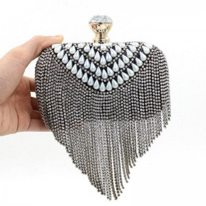 New European American High Quality Ceramic Beads Rhinestone Clutch Bags Tassel Diamond Evenig Clutch For Women Thumbnail