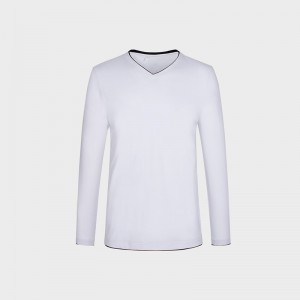 New Fashion Brand Clothing Men T Shirt Contrast Color Collar Slim Fit Long Sleeve T Shirts Men Cotton Casual T Shirt