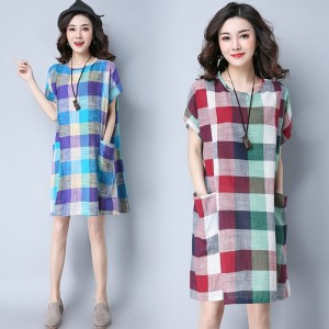 New Fashion Cotton Linen Knee Length Casual Loose Fit Autumn Vintage Mini Dress For Women