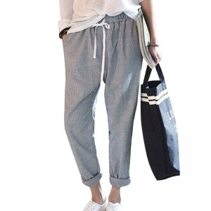 New Fashion Cotton Pants Striped Casual Trousers Slim Fit Loose Design For Women Thumbnail