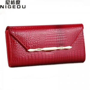 New Fashion Crocodile Grain Wallets For Women Long Leather Wallets Purses Clutches For Ladies Thumbnail