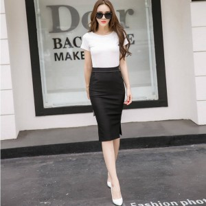 New Fashion Elegant Women Midi Slim Skirt Open Slit Knee Length For Women Thumbnail