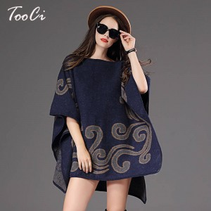 New Fashion Fall Winter Women Pullover Sweater Loose Poncho Jacquard Pullover Women