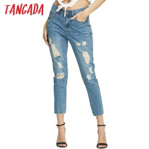 New Fashion For Women Hole Denim Jeans Casual Ripped Skinny Vintage Pockets Pencil Jeans Women Thumbnail
