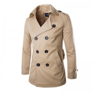 New Fashion Men Solid Slim Trench Coat England Style Long Jacket Overcoat Double Breasted with Sashes Party Wear