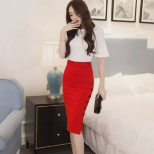 New Fashion Midi Skirt Sexy Open Slit Button Slim Pencil Fit For Women Thumbnail