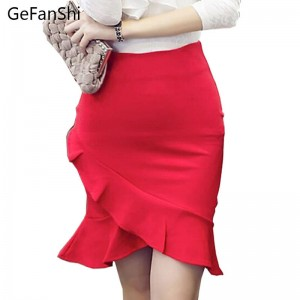 New Fashion Stretch High Waist Lady Pencil Skirt Hip Ruffle Bodycon Irregular Skirt Thumbnail