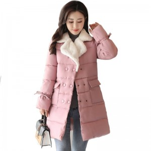 New Fashion Womens Winter Jackets Turn Down Color Breasted Buttons Female Coat Winter Long Autumn Parka Coat