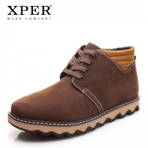 New Genuine Leather Men Boots Fashion Warm Short Plush Men Winter Shoes Cow Leather Male Ankle Boots