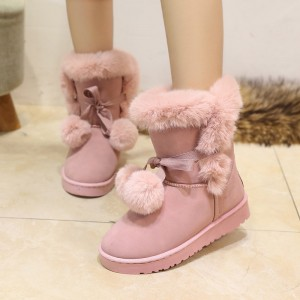 New Hot Sale Women Snow Boots Solid Color Slip On Soft Cute Women Boots Round Toe Flat with Winter Shoes