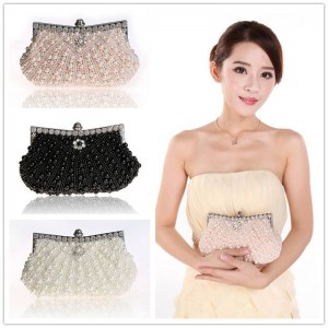 New Ladies Handwork Handbags Clutches Pearls Fashion Beads Evening Formal Day Clutches Hot Princess Clutches Thumbnail
