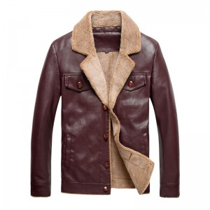 New Leather Jackets Men Winter Thick Overcoat Turn down Collar Casual Brand Clothing Fashion Man Jackets Plus Size