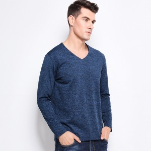 New Men Tee Shirt V Neck Slim Fit Long Sleeve T Shirt Men Solid Color High Quality Casual Mens T Shirts New Arrival