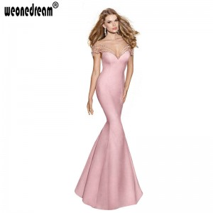 New Mermaid Design Evening Dress See Through Prom Party Dress Bow Train Sexy Stripe Gown Bridal Dress Thumbnail